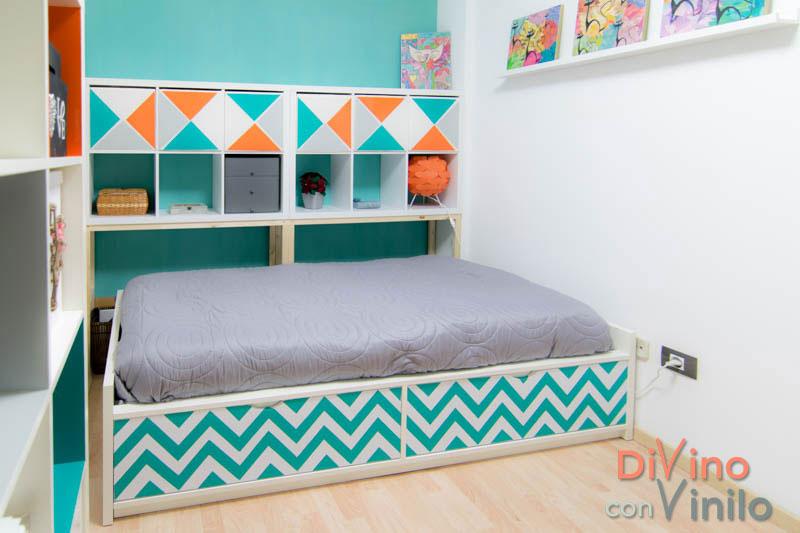 Forrar con vinilo adhesivo para personalizar el dormitorio for Forrar muebles con papel adhesivo