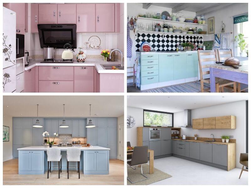 forrar armarios de cocina con vinilo en tonos pastel