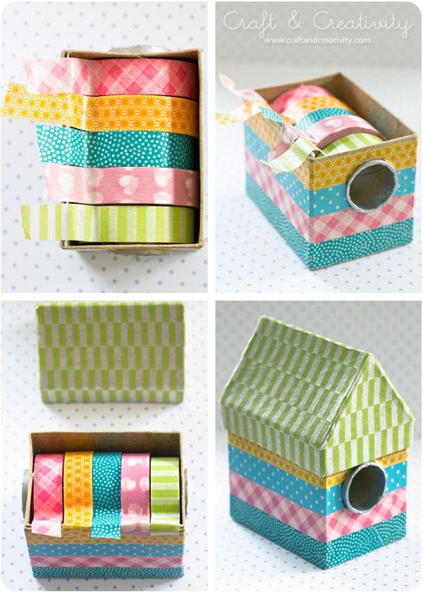 reciclar con washi tape cajas de cartón