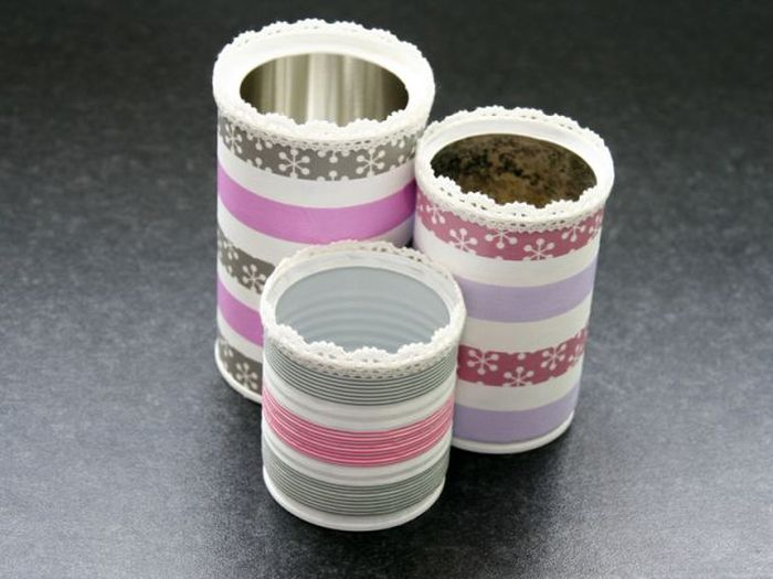 reciclar con washi tape latas