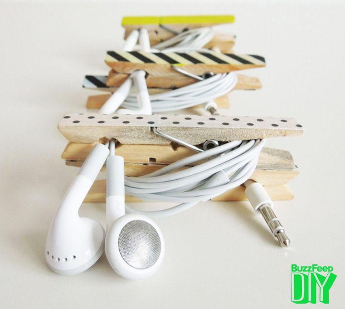 reciclar con washi tape pinzas de la ropa