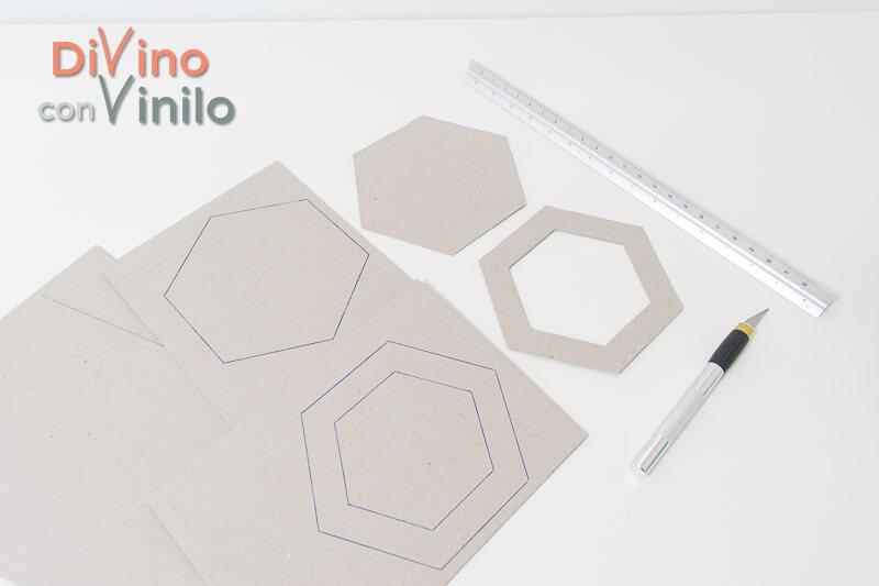 materiales para hacer hexágonos forrados con vinilo adhesivo