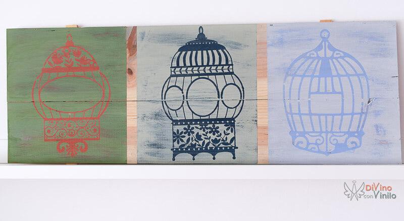 tríptico de madera decorado con plantillas de vinilo adhesivo