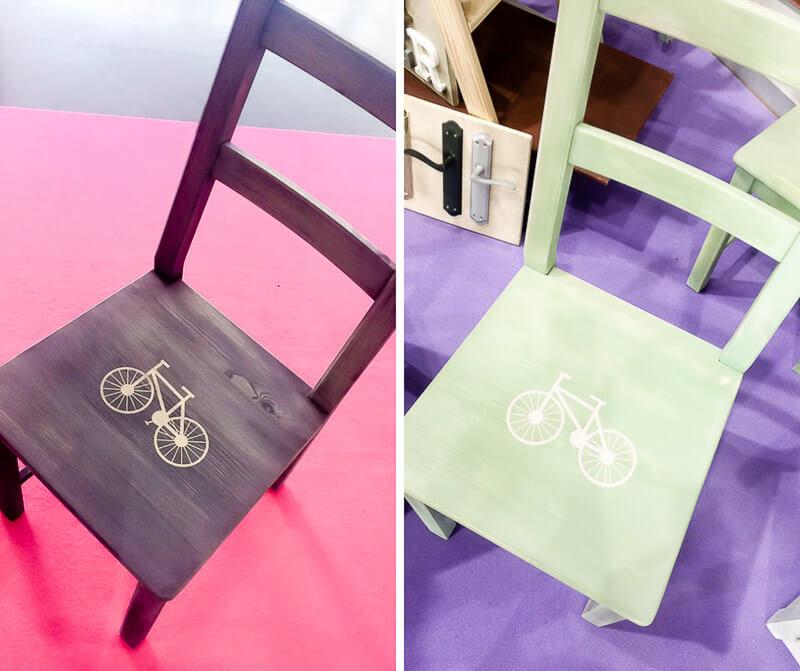 sillas decoradas con plantillas de vinilo adhesivo
