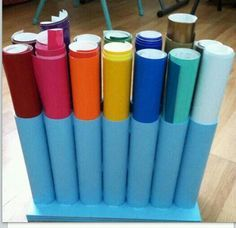 organizar vinilos en el interior de tuberías o tubos de cartón