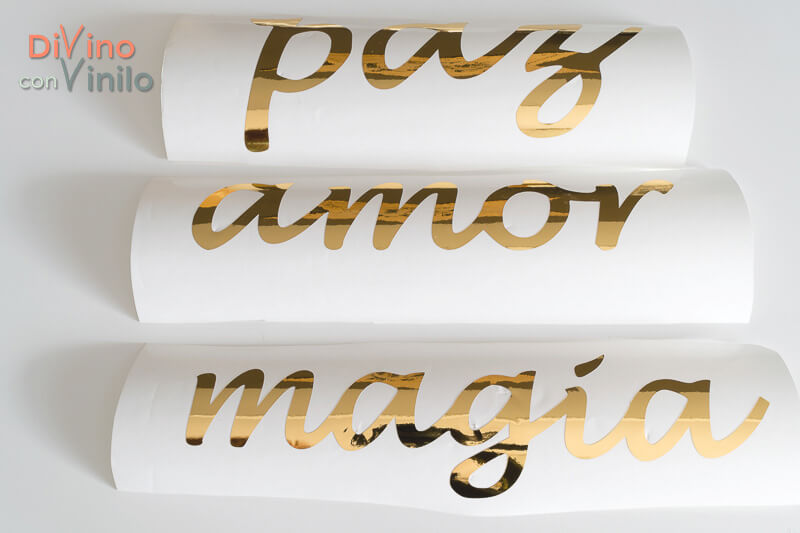 frases inspiradoras con vinilo adhesivo dorado