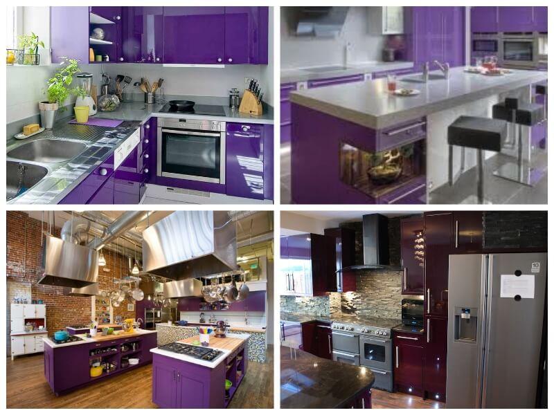 cocina ultra violet y acero inoxidable